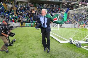 Press Eye - Belfast - Northern Ireland - 8th October 2016 -   The National Football Stadium at Windsor Park Opening Game and Ceremony  Northern Ireland vs San Marino 2018 FIFA World Cup Qualifier  Actor Charlie Lawson pictured at the official opening ceremony.  Photo by Kelvin Boyes / Press Eye