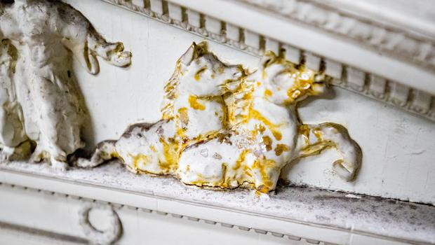 Mould and damage on A model of Parliament buildings  Stormont art work at a lock up on the outskirts of Belfast on May 10th 2018 (Photo by Kevin Scott / Belfast Telegraph)