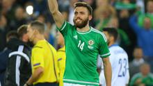 Picture - Kevin Scott / Presseye  Thursday 8th October 2015 - Belfast Northern Ireland - Northern Ireland vs Greece  Pictured is Northern Irelands' Stuart Dallas as Northern Ireland top their group following the Euro 2016 qualifier at Windsor Park in Belfast  Picture - Kevin Scott / Presseye