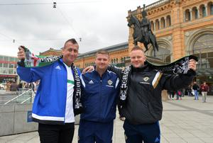 PACEMAKER BELFAST   10/10/2016 Northern Ireland's  Fans (From L-R) Gary Johnston, Stewart Bell and Denis Campbell  in Hannover for Northern Ireland's World Cup Qualifier against Germany on Tuesday evening. Photo Colm Lenaghan/Pacemaker Press