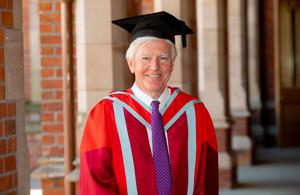 Pictured is President Martin Meehan was presented with an honorary doctorate for distinction in education. Professor Meehan is a former US congressman who became Chancellor of UMass Lowell in Massachusetts and, since taking up position, has transformed it into a highly ranked national research university.