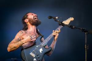 Biffy Clyro's Simon Neil performing on stage at for the first night of Belfast Vital. Wednesday 23rd August 2017. Picture by Liam McBurney/RAZORPIX