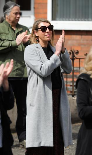 Press Eye - Belfast - Northern Ireland - 4th May 2020 -    Family and friends including actress Alexandra Ford pictured at the funeral of actor BJ Hogg in Lisburn, County Antrim. He was best known as Big Mervyn in the BBC series Give My Head Peace, but BJ Hogg was also a hugely versatile TV, stage and screen actor.  Mr HoggÕs wife Elish McDonnell Hogg, son Nathan and daughter Abigail joined other family and friends.   Photo by Kelvin Boyes / Press Eye.