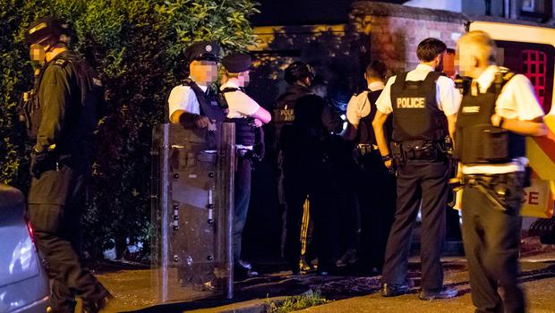 Armed response officers and emergency services deal with a male throwing bricks from a roof causing mass damage in Ashley Drive , South Belfast on May 28th 2018 (Photo by Kevin Scott / Belfast Telegraph)