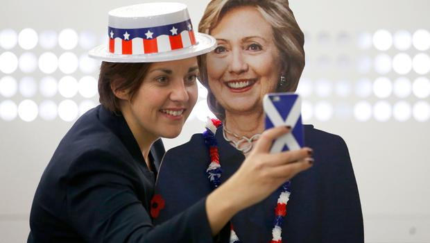 Scottish Labour leader Kezia Dugdale poses with a cardboard cut-out of Hillary Clinton at a US election party organised by the US Consulate General in Scotland at the University of Edinburgh where party-goers watched TV screens beaming results live from across the Atlantic.  PRESS ASSOCIATION Photo. Picture date: Wednesday November 9, 2016. See PA story POLITICS President. Photo credit should read: Jane Barlow/PA Wire