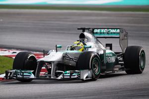KUALA LUMPUR, MALAYSIA - MARCH 24:  Nico Rosberg of Germany and Mercedes GP drives during the Malaysian Formula One Grand Prix at the Sepang Circuit on March 24, 2013 in Kuala Lumpur, Malaysia.  (Photo by Mark Thompson/Getty Images)