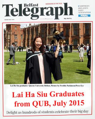 Mandatory Credit - Picture by Freddie Parkinson/Press Eye ? Tuesday 7th July 2015 Graduations Queen University Belfast. Lai Ha Siu from Hong Kong graduates in Queen University Belfast with Business Management.