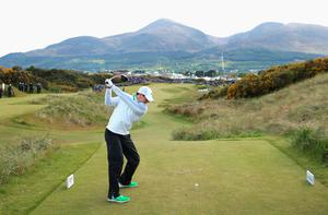 NEWCASTLE, NORTHERN IRELAND - MAY 29:  Rory McIlroy of Northern Ireland tees off on the 16th hole during the Second Round of the Dubai Duty Free Irish Open Hosted by the Rory Foundation at Royal County Down Golf Club on May 29, 2015 in Newcastle, Northern Ireland.  (Photo by Andrew Redington/Getty Images)