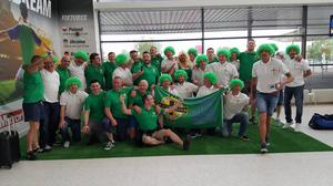 Northern Ireland and Republic of Ireland fans on their way to France for Euro 2016. Pic: Gregg Clarke.