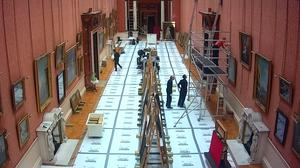 The scene in the gallery as workers removed the artwork (Royal Collection Trust/PA)