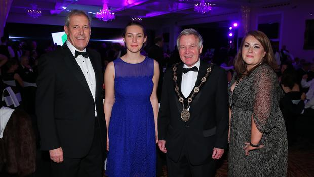 Press Eye - Belfast - Northern Ireland - 2nd February 2017 -    NI Year of Food & Drink Awards at the Culloden Hotel.  Uel Mackin, Natalie Brown, Brian Bloomfield, Mayor of Lisburn & Castlereagh City Council and Riki Neill  pictured at the NI Year of Food & Drink Awards at the Culloden Hotel.  Photo by Kelvin Boyes / Press Eye.