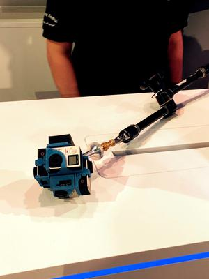 Intel's next-generation selfie stick which was unveiled during a press conference at the IFA technology show in Berlin. PRESS ASSOCIATION Photo. Picture date: Wednesday September 2, 2015. The selfie stick is composed of 6 GoPro cameras that offer a 360-degree view in ultra high definition 4K which was shown on stage being powered by one of the new processors. See PA story TECHNOLOGY Intel. Photo credit should read: Martyn Landi/PA Wire