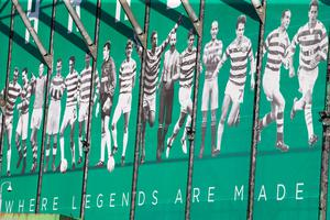 A Celtic mural during the UEFA Champions League qualifying play-off, first leg match at Celtic Park, Glasgow. PRESS ASSOCIATION Photo. Picture date: Wednesday August 17, 2016. See PA story SOCCER Celtic. Photo credit should read: Jeff Holmes/PA Wire