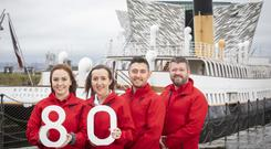 Titanic Belfast front of house team, Mairead Sweeney, Deirdra Wade, Geoff Fulton and Conor Clarke, are pictured as the visitor attarction announces they are recruiting for 80 roles ahead of high season