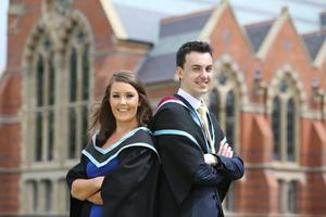 Graduating today from Queen's University Belfast are brother and sister, Vincent and Grace McKenna, from Magherafelt. Vincent is graduating with a PhD in Mechanical Engineering and Grace is graduating with a MB BCh BAO Bachelor of Medicine.
