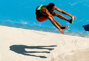 Larbi Bourrada of Algeria competes in the Men's Decathlon Long Jump on Day 12 of the Rio 2016 Olympic Games at the Olympic Stadium on August 17, 2016 in Rio de Janeiro, Brazil.  (Photo by Matthias Hangst/Getty Images)