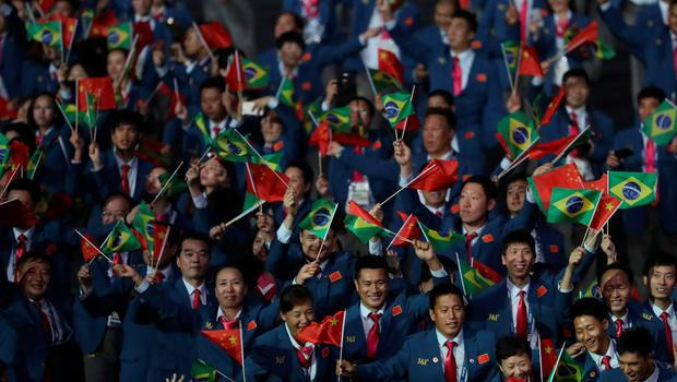 RIO DE JANEIRO, BRAZIL - SEPTEMBER 07: Athletes of Team China walk into the stadium during the Opening Ceremony of the Rio 2016 Paralympic Games at Maracana Stadium on September 7, 2016 in Rio de Janeiro, Brazil. (Photo by Friedemann Vogel/Getty Images)