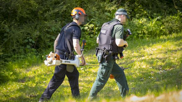 Police search forest land in the Poleglass area of west Belfast on May 25th 2018 (Photo by Kevin Scott / Belfast Telegraph)