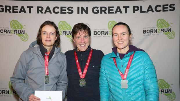 Press Eye - Belfast Telegraph - Run Forest Run Series - Loughgall Forest Park - 1st December 2018 Photograph by Declan Roughan  (L-R) Ladies 10k, 2nd place Catherine Roberts, 1st Julie Murphy and 3rd place Louise Simpson.