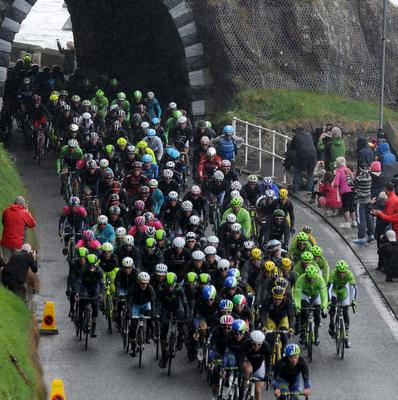 Pacemaker Press 10/4/2014   Cyclists pass threw Drains Bay near Larne in Co Antrim,  during the second stage of the Giro d'italia  on the coast  roads in Northern Ireland  Picture Colm/Pacemaker.
