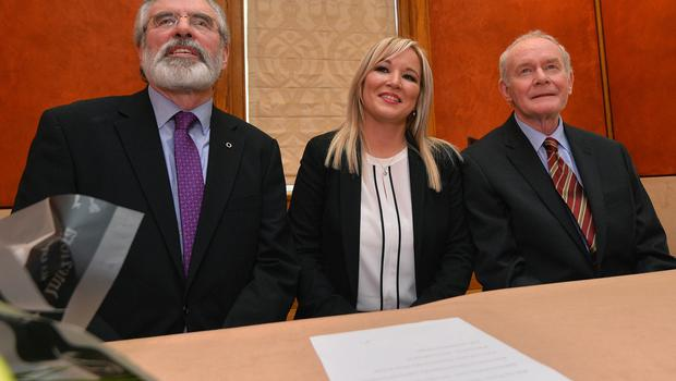 Michelle O'Neill is announced as Sinn Fein's e new leader in the north by Senior Members Martin McGuinness , Gerry Adams and Mary McDonald at  Stormont on Monday. Pic Colm Lenaghan/Pacemaker
