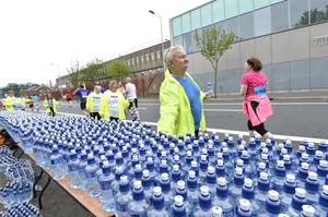 7th May 2018 37th Deep RiverRock Belfast City Marathon  Water stations pictured at the marathon  Mandatory Credit ©Presseye/Stephen Hamilton