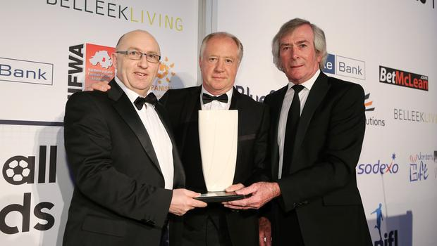 Press Eye - Belfast - Northern Ireland - 7th May 2018  -   NI Football Awards at the Crowne Plaza Hotel.   THE MACOLM BRODIE HALL OF FAME  Stephen Brodie and Pat Jennings make a presentation to Jimmy Nicholl   Photo by Kelvin Boyes / Press Eye