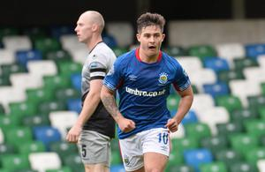Mixed emotions: It looks like more celebrations for Linfield but the misery is set to continue for Institute