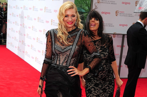 Tess Daly (left) and Claudia Winkleman  arriving for the 2013 Arqiva British Academy Television Awards at the Royal Festival Hall, London. PRESS ASSOCIATION Photo. Picture date: Sunday May 12, 2013. See PA story SHOWBIZ Bafta. Photo credit should read: Ian West/PA Wire
