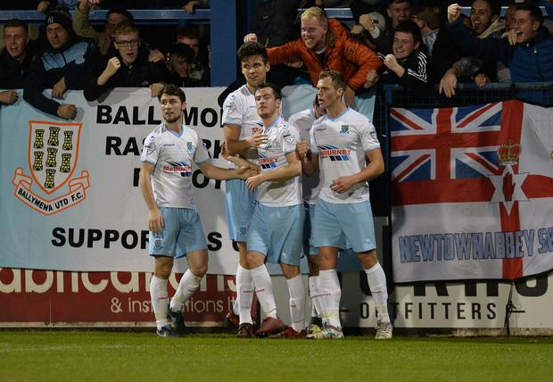PACEMAKER BELFAST  25/09/2018 Coleraine v Ballymena United Danske Bank Premiership  BallymenaÕs Andrew McGrory scores  during this evenings game at the Showgrounds. Photo Colm Lenaghan/Pacemaker Press