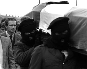 PACEMAKER BELFAST  Martin McGuinness (left) follows the coffin of IRA man Charles English in Derry 1984