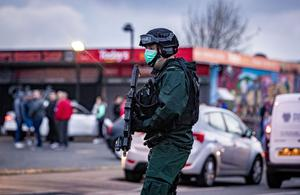 Armed police respond to reports of males with pickaxes, hammers and baseball bats in the Blackthorn Park area of Carrickfergus on April 28th 2020 (Photo by Kevin Scott for Belfast Telegraph)