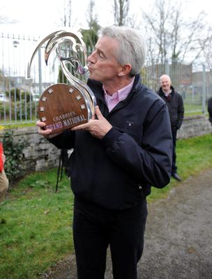 Owner Michael O'Leary kisses the Crabbie's Grand National trophy during a homecoming event for his horse Rule The World in Mullingar, County Westmeath, Ireland. PA Wire