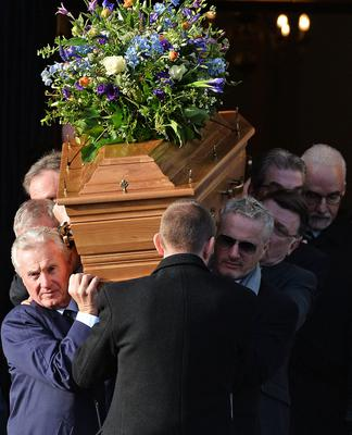 Pacemaker Press  14/1/2019 Family and Friends including Eddie Irvine   during the Funeral of Dr Ian Adamson at Clonlig Presbyterian Church on Monday. A politician, medical doctor and historian, Dr Adamson served as Lord Mayor of Belfast in 1996/7, high sheriff in 2011 and was an Assembly member for the constituency of East Belfast from 1998 to 2003.  Known for his passion for culture, he founded the Ulster-Scots Language Society in 1992 and also spoke a number of other languages, including Irish.  Pic Colm Lenaghan/ Pacemaker