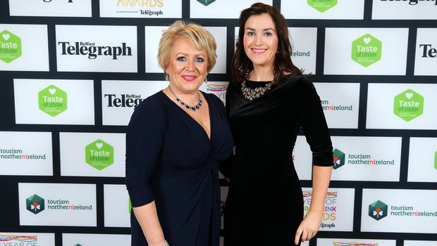 Press Eye - Belfast - Northern Ireland - 2nd February 2017 -    NI Year of Food & Drink Awards at the Culloden Hotel.  Tanya Cathcart and Louise Curry pictured at the NI Year of Food & Drink Awards at the Culloden Hotel.  Photo by Kelvin Boyes / Press Eye.