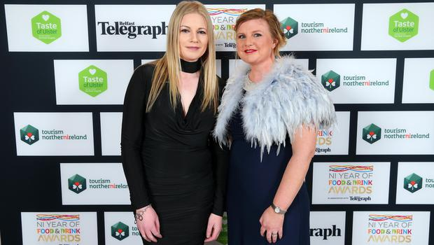 Press Eye - Belfast - Northern Ireland - 2nd February 2017 -    NI Year of Food & Drink Awards at the Culloden Hotel.  Shauna McFall and Laura Goodall pictured at the NI Year of Food & Drink Awards at the Culloden Hotel.  Photo by Kelvin Boyes / Press Eye.
