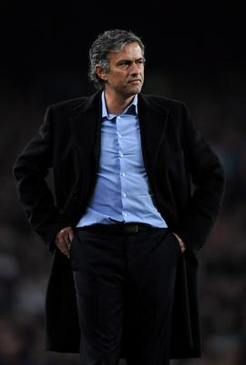 FILE - JUNE 02, 2013:  Jose Mourinho has been confirmed as Chelsea FC manager, returning to the club for a second term in charge, having left the club in 2007. BARCELONA, SPAIN - NOVEMBER 24:  Coach Jose Mourinho of Inter Milan follows his players during the UEFA Champions League group F match between FC Barcelona and Inter Milan at the Camp Nou Stadium on November 24, 2009 in Barcelona, Spain. Barcelona won the match 2-0.  (Photo by Jasper Juinen/Getty Images)