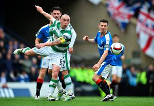 GLASGOW, SCOTLAND - APRIL 17:   Scott Brown of Celtic clears the ball during the William Hill Scottish Cup semi final between Rangers and Celtic at Hampden Park on April 17, 2016 in Glasgow, Scotland.  (Photo by Jeff J Mitchell/Getty Images)