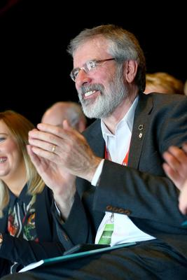 Picture - Kevin Scott / Presseye  Saturday 7th March 2015 - Sinn Fein Ard Fheis 2015  Pictured is Gerry Adams during the Orange Order Band Forum Meeting at the Sinn Fein Ard Fheis at the Millennium Forum in Derry.   Mandatory Credit - Kevin Scott / Presseye