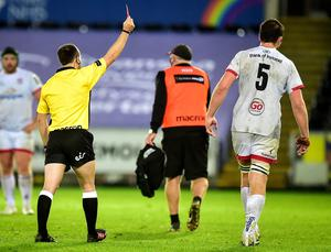 Ulster's Iain Henderson is shown a red card by referee Mike Adamson for a shoulder charge on Dan Evans in Saturday's win over the Ospreys at the Liberty Stadium (INPHO/Alex James)