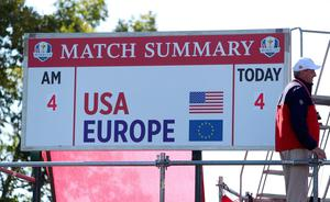 A view of the scoreboard, showing USA 4 up after the morning Foursomes, during day one of the 41st Ryder Cup at Hazeltine National Golf Club in Chaska, Minnesota, USA. David Davies/PA Wire.