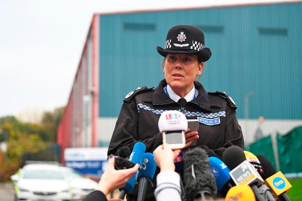 Deputy Chief Constable Pippa Mills speaks to the media at the Waterglade Industrial Park in Grays, Essex, after 39 bodies were found inside a lorry on the industrial estate. Pic Victoria Jones/PA Wire
