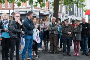Some of the people who gathered at the War memorial in Derry to express their solidarity with people of Manchester. Picture Martin McKeown. Inpresspics.com. 23.05.17