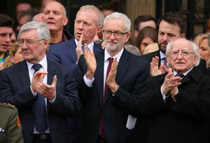 Funeral and service of thanksgiving for journalist Lyra McKee at St Anne's Cathedral, Donegall Street, Belfast.  Lyra McKee was murdered in Creggan in Derry on Thursday 18th April.  Labour party leader Jeremy Corbyn(centre) and Irish President Michael D Higgins(right) pictured at and  at the funeral.    Picture by Jonathan Porter/PressEye