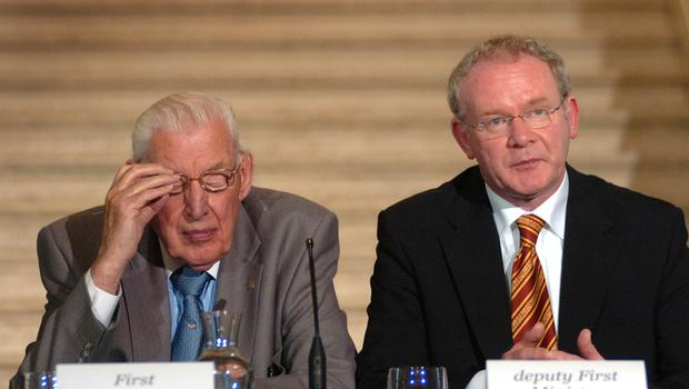 Pacemaker Press International Belfast 16/7/2007. First and Deputy First Mnister Ian Paisley and Martin McGuinness pictured today at Stormont at the British Irish Council meeting 2007 . Picture Charles McQuillan/Pacemaker.
