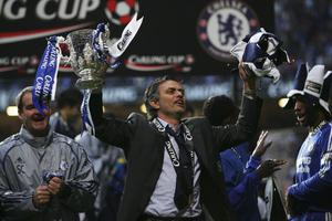 FILE - JUNE 02, 2013:  Jose Mourinho has been confirmed as Chelsea FC manager, returning to the club for a second term in charge, having left the club in 2007. CARDIFF, UNITED KINGDOM - FEBRUARY 25: Chelsea Manager Jose Mourinho celebrates with the trophy following his team's victory at the end of the Carling Cup Final match between Chelsea and Arsenal at the Millennium Stadium on February 25, 2007 in Cardiff, Wales. (Photo by Alex Livesey/Getty Images)