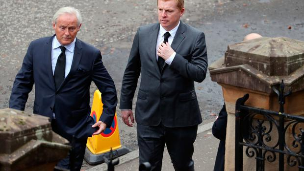 Celtic manager Neil Lennon attends the funeral of former Rangers footballer Fernando Ricksen at Wellington Church, Glasgow. PA Photo. Picture date: Wednesday September 25, 2019. The former Holland international died aged 43 a week ago, six years after being diagnosed with motor neurone disease. Ricksen played more than 250 times for the Light Blues after joining from AZ Alkmaar in 2000, winning two league titles during his time in Glasgow. See PA story SOCCER Ricksen. Photo credit should read: Andrew Milligan/PA Wire.