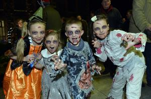 Georgia,Annie ,Bobby and Britanny Walker pictured at the  Halloween spook out at Newtownabbey's Mossley Mill. Picture by Stephen Hamilton -Presseye.com