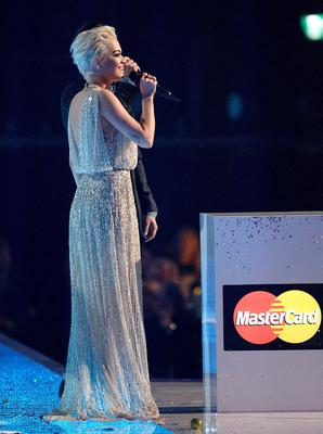 Rita Ora on stage during the 2015 Brit Awards at the O2 Arena, London.