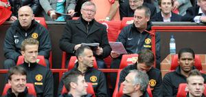 Manchester United manager Sir Alex ferguson takes his seat for his last Barclays Premier League match at Old Trafford, Manchester. PRESS ASSOCIATION Photo. Picture date Sunday May 12, 2013. See PA story SOCCER Man Utd. Photo credit should read: Martin Rickett/PA Wire. RESTRICTIONS: Editorial use only. Maximum 45 images during a match. No video emulation or promotion as 'live'. No use in games, competitions, merchandise, betting or single club/player services. No use with unofficial audio, video, data, fixtures or club/league logos.